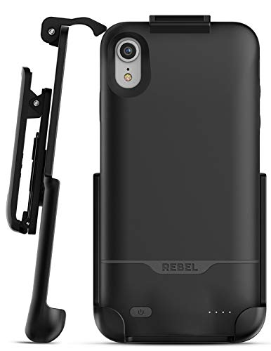 iPhone XR Battery Case with Belt Clip – Encased 5270mAh Protective Charging Case – Rebel Power with Holster (Black)