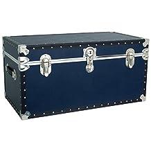Mercury Luggage Seward Trunks 5330-21 Tacked Footlocker Trunk with Paper Lining, Navy Blue, 31-Inch