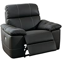 Homelegance Nicasio Contemporary All Genuine Leather Power Reclining Chair, Brown