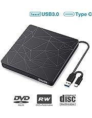 Externes DVD Laufwerk, SAWAKE CD Brenner PC Player für Laptop, Desktop, Mac, MacBook, Win 10/8/7/XP, Linux, MacOS, Vista7/8 (tragbar, USB 3.0& Typ-C, Plug&Play, niedriger Lärm)