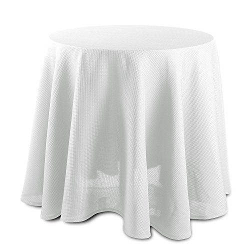 CAROMIO Round Tablecloth - 70 Inches - White Waffle Fabric Table Cloth for Buffet Table, Banquet, Birthday Parties, Wedding and more