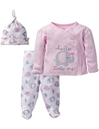 Baby Girls' 3 Piece Side Snap Mitten Cuff Shirt, Footed Pant and Cap