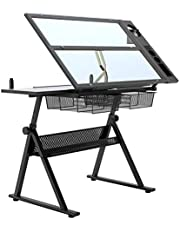 Soges Drafting Table Art & Craft Drawing Desk with 2 Storage Drawers Adjustable Glass Desk for Drawing, Painting, Writing and Studying,CZKLD-027-N-CA