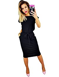 ZIOOER Women's Elegant Work Casual Pockets Pencil Dress with Belt