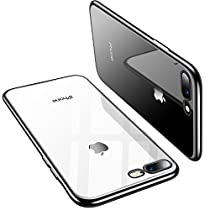 TORRAS Crystal Clear iPhone 8 Plus Case/iPhone 7 Plus Case, Soft Cover Case with Electroplated Frame Ultra Slim TPU Gel Case Compatible with iPhone 7 Plus/8Plus