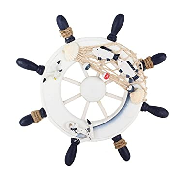 UniqueBella Nautical Mediterranean Style Nordic Wooden Boat Wheel Colour Blue and White