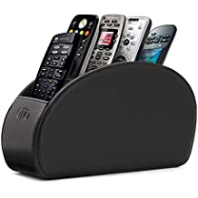 Otto Remote Control Holder with 5 Pockets - Store DVD, Blu-Ray, TV, Roku or Apple TV Remotes - Leather with Suede Lining - Slim, Compact Living or Bedroom Storage