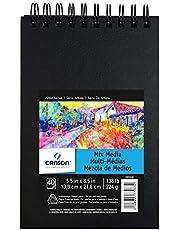Canson Livro de arte Mix Media, papel francês pesado, dupla face, textura fina e média, encadernação lateral, 62 kg, 14 x 21 cm, 40 folhas
