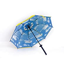 Designer Yellow Golf Umbrella | Cool Japanese Samurai Sword Handle | Windproof with 100% UV protection | Custom Large 30-inch Double Canopy Design | Push Button Auto Open | Shoulder Carrying Case