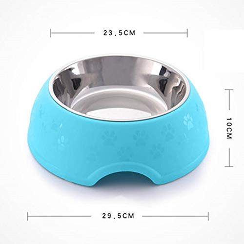 bluee ZHBWJSH Pet Products Dog Bowl Cat Pot Single Bowl Rice Bowl Stainless Steel Cute Cat Bowl (Pink Green bluee) (color   bluee)