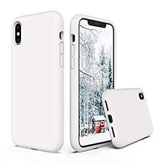 SURPHY Silicone Case for iPhone X iPhone Xs Case, Soft Liquid Silicone Shockproof Phone Case (with Microfiber Lining) Compatible with iPhone Xs (2018)/ iPhone X (2017) 5.8 inches (White)