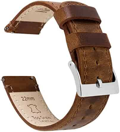 20mm Weathered Brown - Barton Quick Release - Top Grain Leather Watch Band Strap