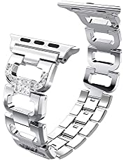 PUGO TOP Compatible with Bling Apple Watch Band 38mm 42mm 40mm 44mm Series 4 3 2 1, Stainless Steel Metal Iwatch Replacement Bracelet Band Wristband Strap iPhone Watch Bangle Band for Women