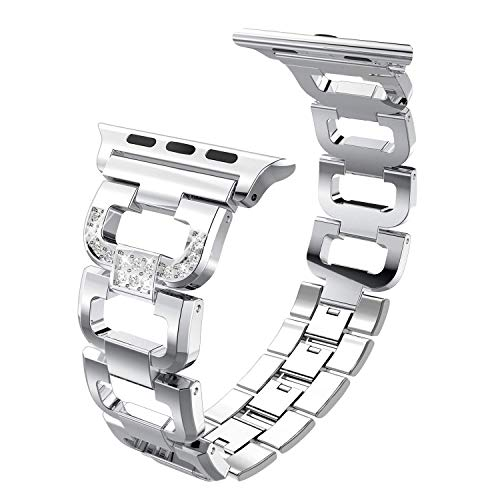PUGO TOP Compatible with Apple Watch 38 40mm Band Women Stainless Steel, Bling Iwatch Replacement Bands Bracelet Link with Rhinestone for Series 4/3/2/1(38/40mm, Silver)