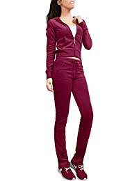 Womens Casual Basic Velour/Terry Zip Up Hoodie Sweatsuit Set S-3XL