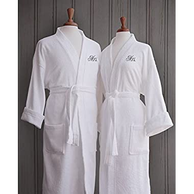 Luxor Linens Egyptian Cotton Terry Robes with Women's Couple's Embroidery - Perfect Gay Wedding Gifts! (Mrs./Mrs.)