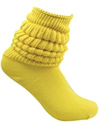 Yellow Slouch Scrunchy Heavy Fitness Long Ribbed Winter Socks