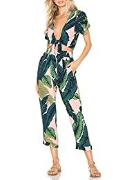 9c14ae03d1a9 Womens Sexy Tie Crop Top Wide Leg Long Pants 2 Piece Outfits Summer Short  Sleeve Jumpsuits