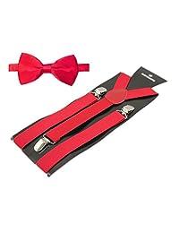 """TopTie Mens 1"""" Inch Elastic Adjustable Y-Back Suspenders & Pre-Tied Bow Tie Set-Red"""