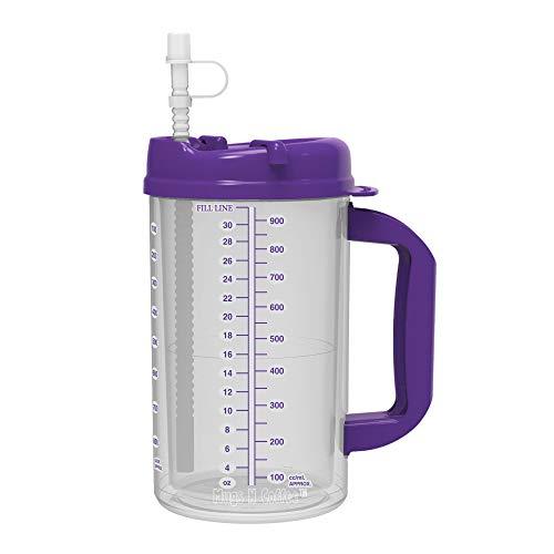 (32 oz Double Wall Insulated Hospital Mug - Cold Drink Mug - Large Carry Handle - Includes Straw (1, Purple))