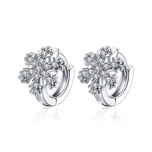 Runsmooth Women Earrings Snowflake Shape Platinum Plated Inlay Cubic Zirconia Hoop Earrings for Women's Girls Jewelry (Platinum Flakes)