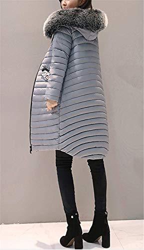 Bolsillos Cómodo Pluma Mujeres Cremallera Colores Battercake Invierno Outwear Outerwear Mujer Casual Larga Grau Sólidos Casuales Con Manga Moda Parka Delanteros TFwqAzw