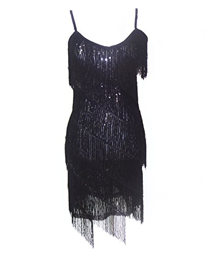 Black Fringe 1920 Flapper Costume (Ru Sweet Women's 1920s Sequin Fringe 1920s Flapper Gatsby Custome Party Dress)