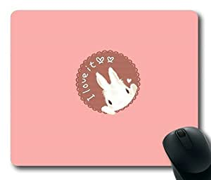 Cartoon Rabbit on Pink Rectangle Mouse Pad by Lilyshouse