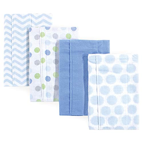 Luvable Friends Baby Layered Flannel Burp Cloth, Blue 4 Pack, One Size ()