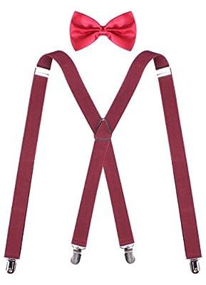 ORSKY 1920s Men Accessories Adjustable Men Suspenders and Bow Tie Set for Tuxedo Wedding