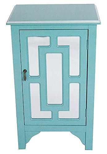 Heather Ann Creations W191318M 1189 30u0026quot; Turquoise Becker Collection  Handcrafted Greek Key Wood Living
