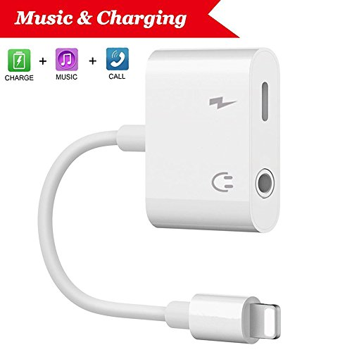 Lightning Jack Headphone Adapter Charger for iPhone 7/7 Plus/8/8 Plus/iPhone X 10/iPad/iPod Earphone Adapter Headphone Aux Audio & Charge Adapter, Connector Lightning Cable Support iOS 11 System