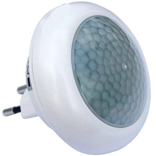 luz nocturna enchufe Bombilla Luz nocturna con detector de movimiento para enchufe LED Lámpara Luz de emergencia; Noche Proyección para enchufe 220 V 0,5 W: ...