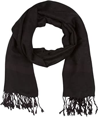 "Sakkas 70"" x 28"" Paisley Self-Design Shawl / Wrap / Stole - Black"