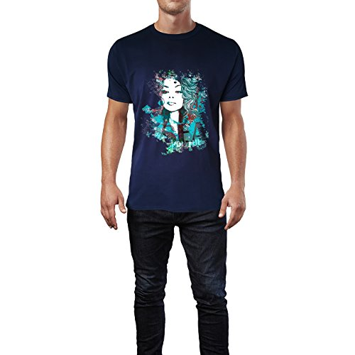 SINUS ART® Blaue Collage mit blauhaariger Frau Herren T-Shirts in Navy Blau Fun Shirt mit tollen Aufdruck