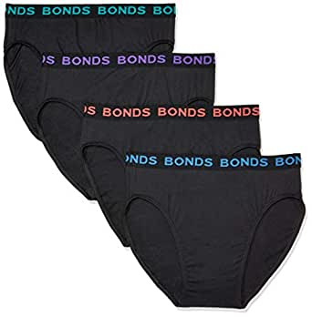 Bonds Men's Underwear Hipster Brief (4 pack), Black / Bright Band, Small