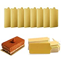 Mini Square Golden Cardboard Cake Base, 100PCS Cake Paper Plates Dessert Board Base Grease-Proof and Freezer-Durable Pastry Cardboard by HansGo