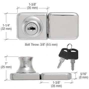 CRL Chrome UV Bond Classic Series Glass Door Lock and Keeper for Double Doors (Chrome Double Glass Door Lock)