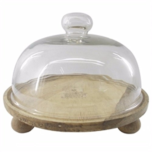 Benzara Artistic Wood and Glass Domed Cake Stand, Clear and Brown