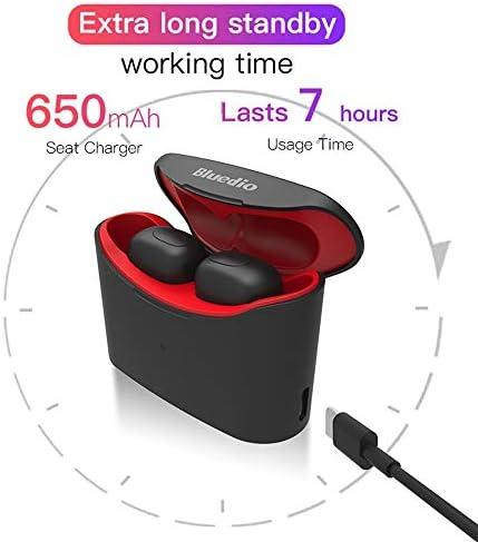 Cetengkeji 充電箱が付いているブルートゥースのヘッドホーンの無線スポーツのイヤホーンの作り付けのマイクロフォン (Color : Red)