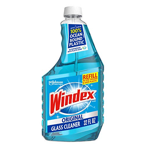 Windex Glass and Window Cleaner Refill Bottle, Bottle Made from 100% Recycled Plastic, Original Blue, 32 fl oz.