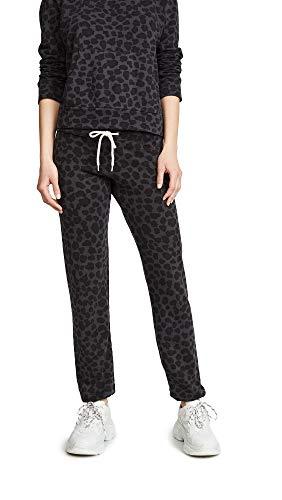 (Monrow Women's Leopard Vintage Sweats, Black, Small)