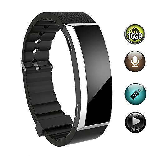 16GB Voice Recorder Watch, BestRec Voice Activated Recordings for Lectures, Meetings, 20 Hours Working Time, Easy One Button Operation - Black (Recording Spy Watch)