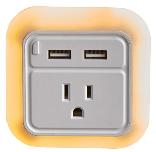 Smooth Trip LED Nightlight with Grounded Outlet and Dual USB Chargers