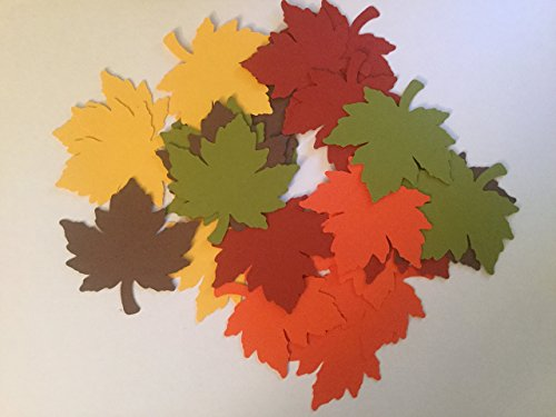 25 Fall Leaves Die cuts, 2 1/2 inch Leaf Cutout, Large Leaf Confetti, Thanksgiving Decor, Cupcake Topper Supplies, Leaf Paper Piecing, Autumn Leaves