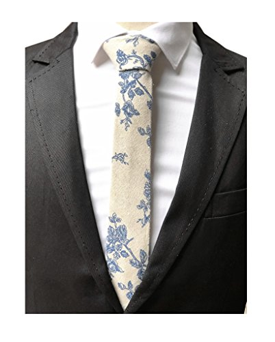 Mens Beige Suit Ties Orange Blue Flower Print Woven Silk Party Necktie Best Gift