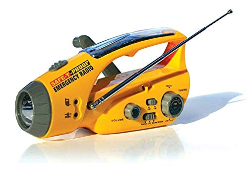 side facing safe-t-proof solar hand-crank emergency radio