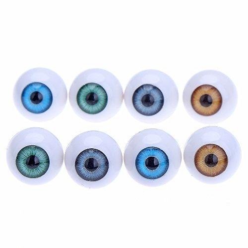 8 Pcs Round Acrylic Doll Eyes Eyeballs 14mm