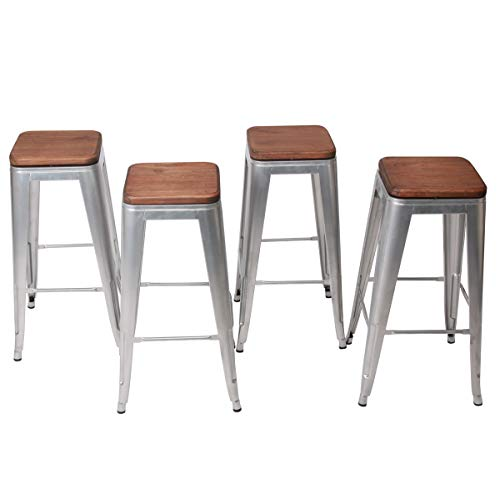 HAOBO Home Modern Industrial Metal Stool Set of 4 Stackable for Indoor Outdoor Dining Chair 30 , Swivel Silver Backless