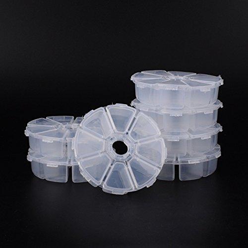 Pandahall 20 Sets 8 Compartments Round Resin Storage Box Bead